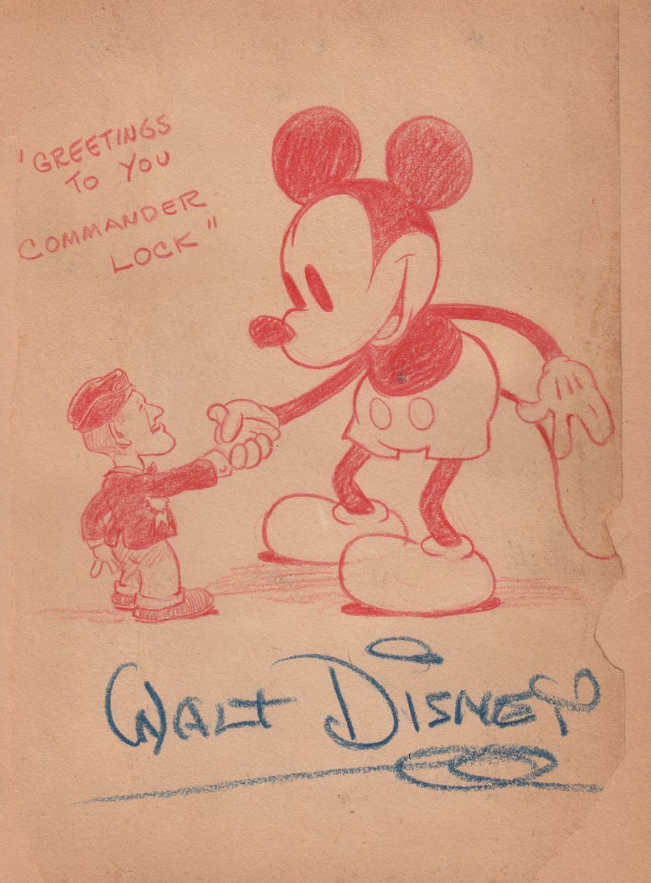 1930s Mickey Drawing Signed By Walt Disney